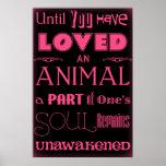 Poster negro y rosado de la cita animal del amante