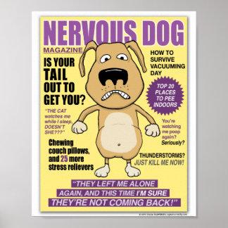 Poster nervioso divertido de la revista del perro póster