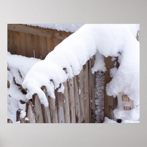 Poster nevado de la cerca