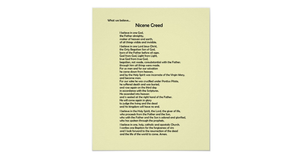 essay on the nicene creed Personal creed bre - la grande, oregon entered on december 3, 2010 themes: charity & service, responsibility, values & spirituality if you enjoyed this essay.