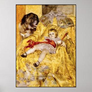 Poster: Niño y St Bernard: Arte de Anders Zorn