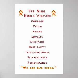 Poster noble de nueve virtudes