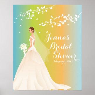 Poster nupcial de la ducha de la novia elegante póster