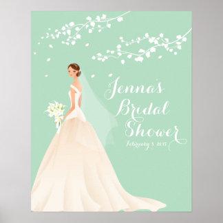 Poster nupcial de la ducha de la novia hermosa