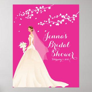 Poster nupcial de la ducha de la novia rosada