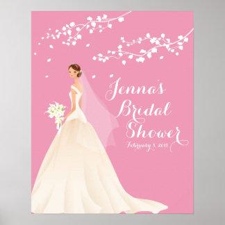 Poster nupcial de la ducha de la novia rosada póster