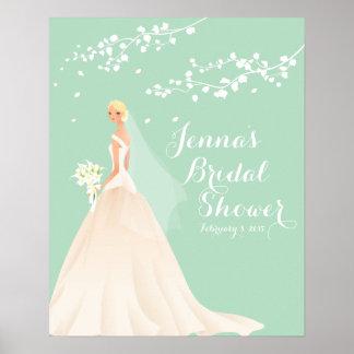 Poster nupcial de la ducha de la novia rubia póster