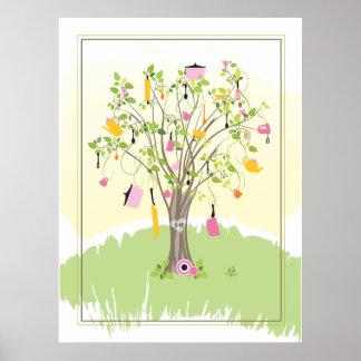Poster nupcial del árbol el de la ducha