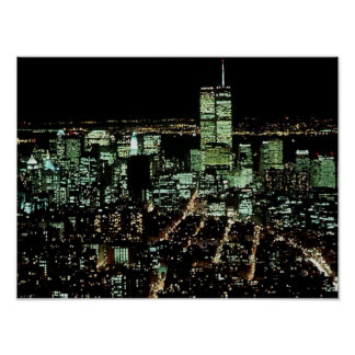 POSTER NYC In Memoriam Twin Towers Night lights