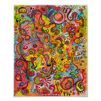 Poster o impresión abstracto colorido de la bella