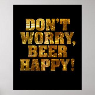 Poster o impresión feliz de la cerveza