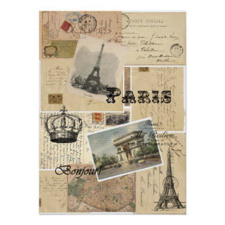 Poster o impresión francés del collage de la posta