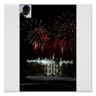 poster OBAMA FIREWORKS AT THE WHITE HOUSE