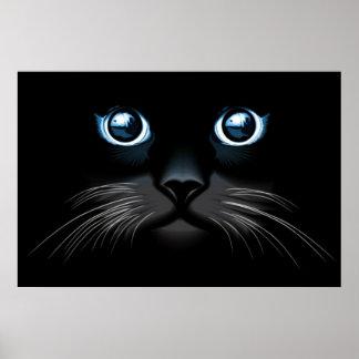 Poster observado azul de la cara del gato negro