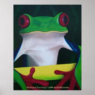 Poster observado rojo de la rana arbórea