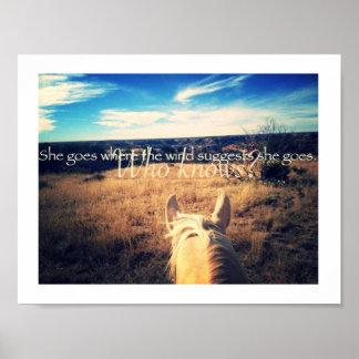 Poster occidental del caballo de la vaquera del póster
