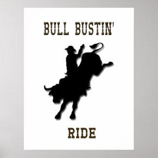 """Poster occidental del rodeo del paseo de Bull Bus Póster"