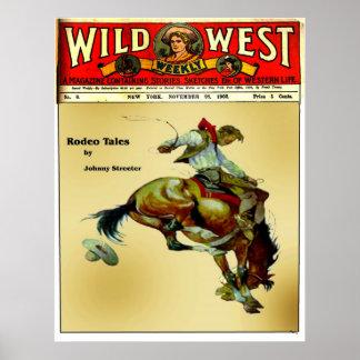 Poster occidental del rodeo del vaquero del jinet