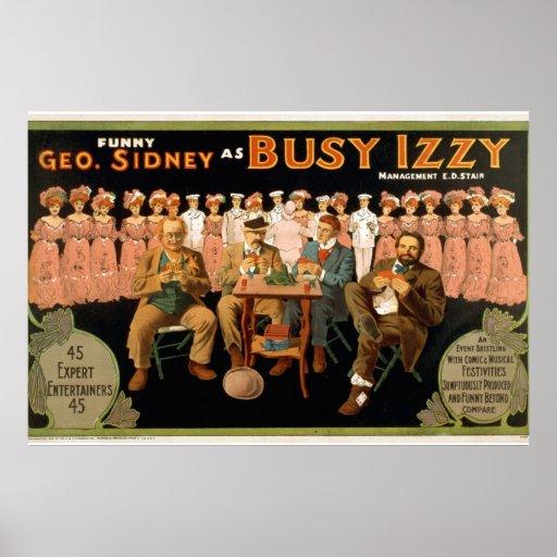 Poster ocupado del teatro del vintage de Izzy