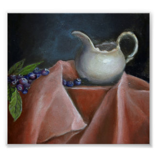 Poster of Blueberries and Cream Pitcher