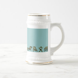 Poster of chairs in turquoise 18 oz beer stein