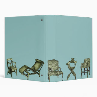 Poster of chairs in turquoise binder