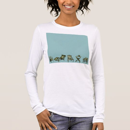 Poster of chairs in turquoise long sleeve T-Shirt