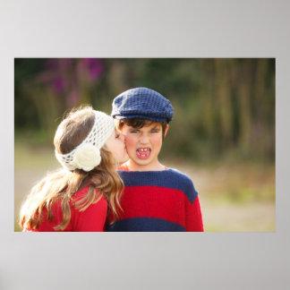 POSTER OF CUTE LITTLE GIRL KISSING A BOY
