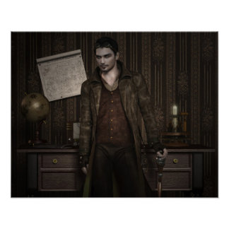 Poster of handsome steampunk gentleman in study