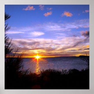 Poster of Sunset at Lake Taupo Print