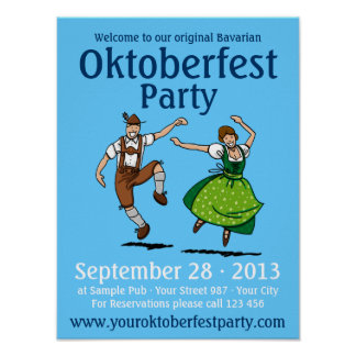 Poster Oktoberfest Party Dancing Bavarian Couple