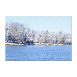 POSTER, OLANDER LAKE RIMMED WITH WHITE TREES CANVAS PRINT