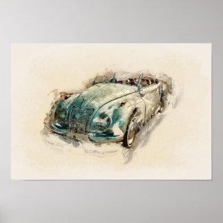 Poster. Old timer, car. Water color illustration Poster