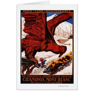 Poster olímpico de 1924 juegos del invierno tarjeta