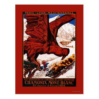 Poster olímpico de 1924 juegos del invierno postal