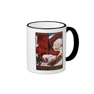 Poster olímpico de 1924 juegos del invierno tazas de café