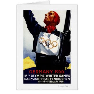 Poster olímpico del anuncio de 1936 juegos del inv tarjeta de felicitación