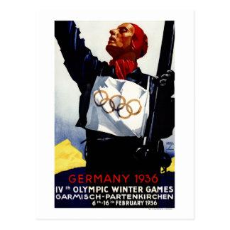 Poster olímpico del anuncio de 1936 juegos del postal