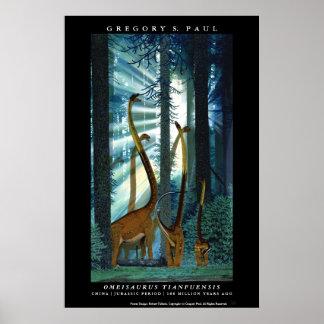 Poster Omeisaurus Gregory Paul del dinosaurio