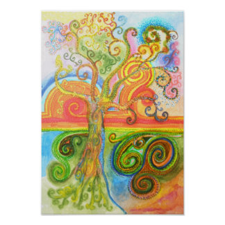 Poster or print with psychedelic colourful tree