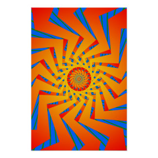 Poster: Orange & Blue Spiral Pattern: Vector Art Poster