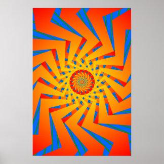 Poster: Orange & Blue Spiral Pattern: Vector Art Poster