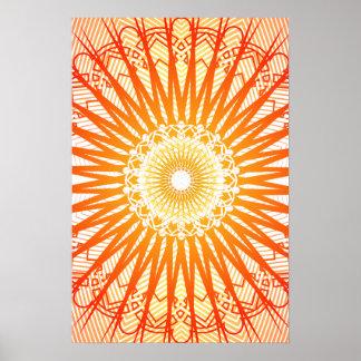 Poster: Orange Radial Pattern: Vector Drawing Poster