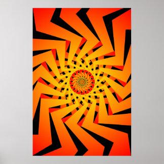 Poster: Orange Spiral Pattern: Vector Drawing Poster