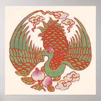 Poster oriental del faisán