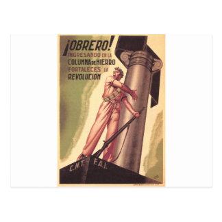 Poster original 1936 de la guerra civil CNT-FAI de Postal