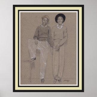 Poster, original art of 2 black men from 1940's poster