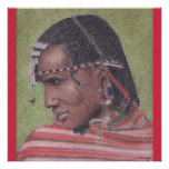 Poster, Original Art of African Maasai Warrior Poster
