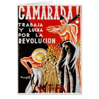 Poster original civil 1936 de la guerra CNT-FAI de Tarjeta De Felicitación