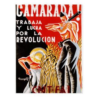 Poster original civil 1936 de la guerra CNT-FAI de Tarjeta Postal